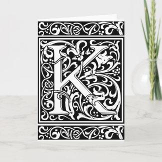 Letter K Medieval Monogram Vintage Initial Note Card