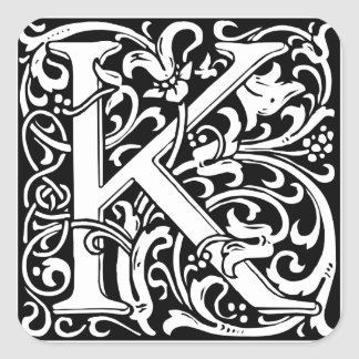 Letter K Medieval Monogram Vintage Initial Square Sticker