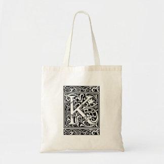 Letter K Medieval Monogram Vintage Initial Tote Bag