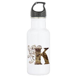Letter K - Medieval Rampant Lion Shield Stainless Steel Water Bottle