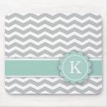 Letter K Mint Monogram Grey Chevron Mouse Pad