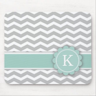 Letter K Mint Monogram Grey Chevron Mousepad