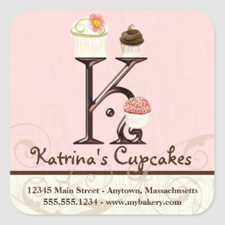 Letter K Monogram Cupcake Logo Business Stickers