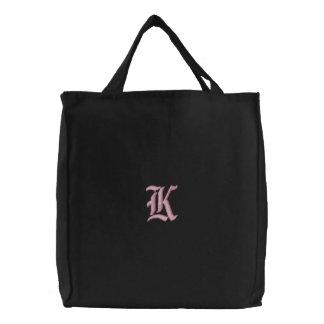 Letter K Monogram Embroidered Bag
