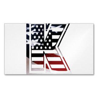 Letter K Monogram Initial Patriotic USA Flag Business Card Magnet
