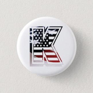 Letter K Monogram Initial Patriotic USA Flag Button