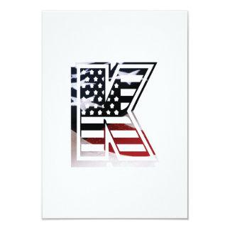 Letter K Monogram Initial Patriotic USA Flag Card