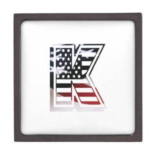 Letter K Monogram Initial Patriotic USA Flag Gift Box