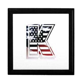 Letter K Monogram Initial Patriotic USA Flag Keepsake Box