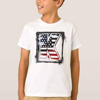 Letter K Monogram Initial Patriotic USA Flag T-Shirt
