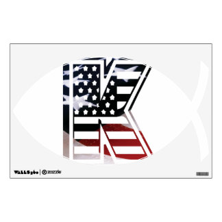 Letter K Monogram Initial Patriotic USA Flag Wall Decal