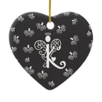 Letter K monogram initial with angels Christmas Ornament