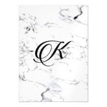 Letter K monogram Marble texture Magnetic Invitation