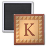 Letter K: Parquetry Wood Look Initial Magnet