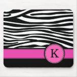 Letter K pink Monogram Zebra stripe Mouse Pad