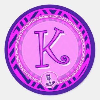 Letter 'K' Pink Nautical Chevron w/ Anchor  - Classic Round Sticker