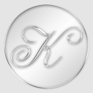 Letter K script initial faux silver monogram favor Classic Round Sticker