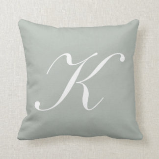 Letter K Silver Gray Monogram Pillow