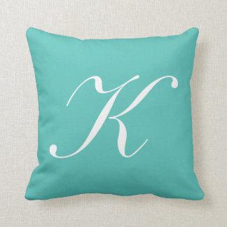 Letter K Turquoise Monogram Pillow
