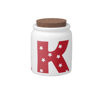Letter K - White Stars on Dark Red Candy Dishes