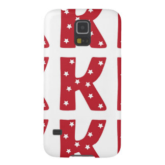 Letter K - White Stars on Dark Red Galaxy S5 Cover