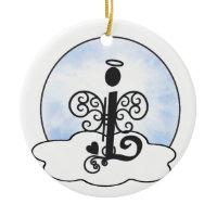 Letter L Alphabet Initial Monogram w Angel Clouds Ornaments