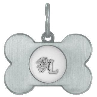 Letter L Angel Monogram Initial Pet Name Tag