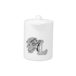Letter L Angel Monogram Initial Teapot