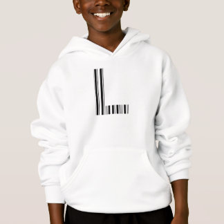 LETTER L BAR CODE First Initial Barcode Pattern Hoodie