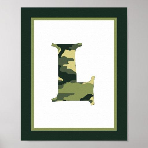 Letter L Camo Green Monogram Initial Wall Art Poster Zazzle
