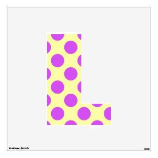 letter L cute kawaii polka dots shabby chic medium Wall Decal