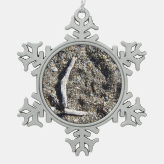 letter l in driftwood on florida beach snowflake pewter christmas ornament