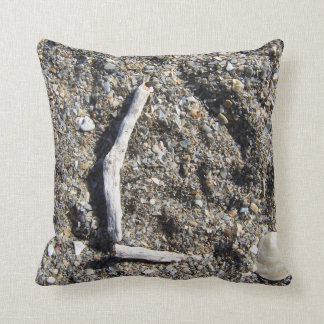 letter l in driftwood on florida beach throw pillows