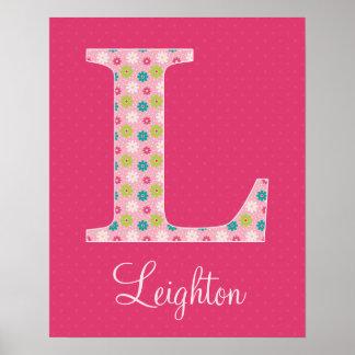 Letter L Initial Alphabet Poster for Girl