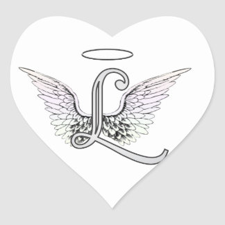 Letter L Initial Monogram with Angel Wings & Halo Heart Sticker