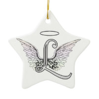 Letter L Initial Monogram with Angel Wings & Halo Christmas Tree Ornaments