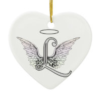 Letter L Initial Monogram with Angel Wings & Halo Christmas Ornament