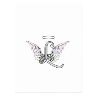 Letter L Initial Monogram with Angel Wings & Halo Postcard