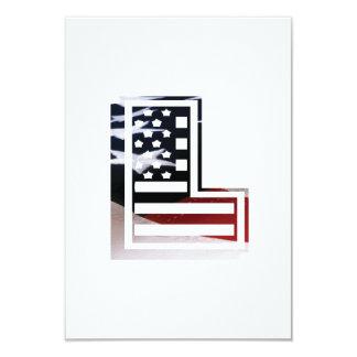 Letter L Monogram Initial Patriotic USA Flag Card