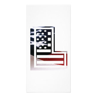 Letter L Monogram Initial Patriotic USA Flag Card