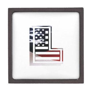 Letter L Monogram Initial Patriotic USA Flag Jewelry Box