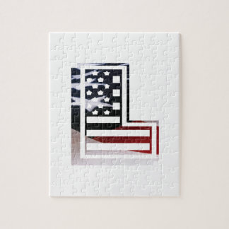 Letter L Monogram Initial Patriotic USA Flag Jigsaw Puzzle