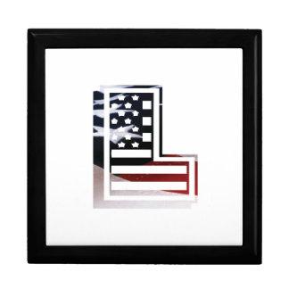 Letter L Monogram Initial Patriotic USA Flag Keepsake Box