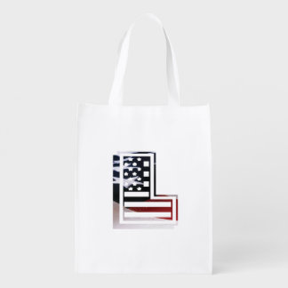 Letter L Monogram Initial Patriotic USA Flag Reusable Grocery Bag