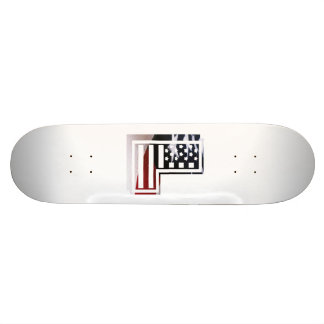 Letter L Monogram Initial Patriotic USA Flag Skateboard Deck