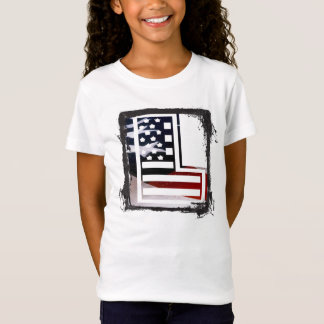 Letter L Monogram Initial Patriotic USA Flag T-Shirt