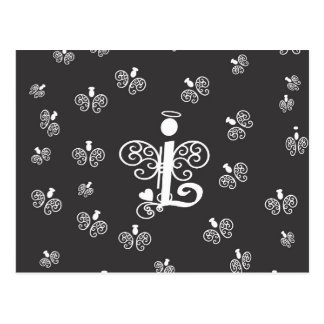 Letter L Monogram Initial with Angels Postcard