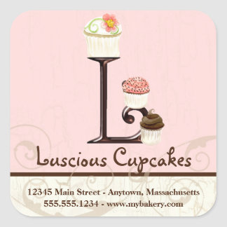 Letter L Monogram Watercolor Cupcake Business Box Square Sticker