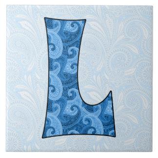 Letter L - Monogrammed Blue Paisley 6 inch Tile