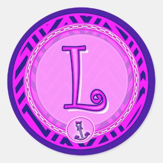 Letter 'L' Pink Nautical Chevron w/ Anchor  - Classic Round Sticker